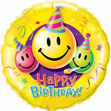 Birthday Smiley Faces Foil Round 36in/90cm