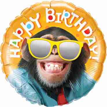 Birthday Smilin Chimp Stars Foil Round 18in/45cm