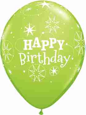 birthday sparkle fashion lime green latex round 11in/27.5cm