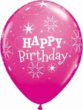 Birthday Sparkle Fashion Wild Berry Latex Round 11in/27.5cm