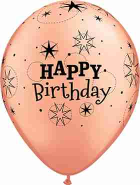 Birthday Sparkle Metallic Rose Gold Latex Round 11in/27.5cm