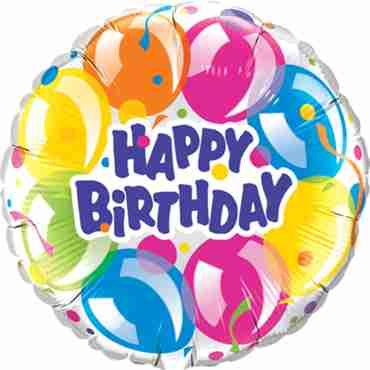 Birthday Sparkling Balloons Foil Round 36in/90cm