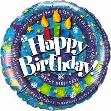 birthday spiral and candles holographic foil round 18in/45cm