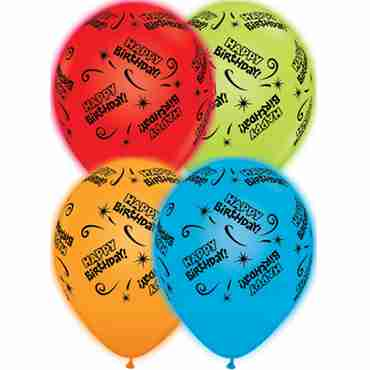 Birthday Standard Red, Standard Orange, Standard Pale Blue and Standard Green Assortment Q-Lite Latex Round 11in/27.5cm