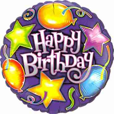 Birthday Stars and Balloons Foil Round 18in/45cm