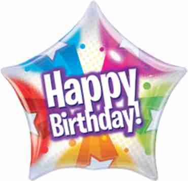 Birthday Stars and Dot Patterns Single Bubble 22in/55cm