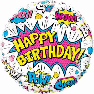 Birthday Super Hero White Foil Round 18in/45cm