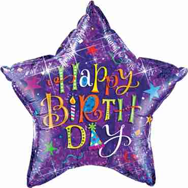 Birthday Typography Purple Holographic Foil Star 36in/90cm