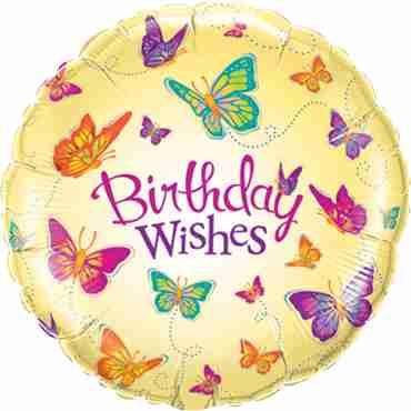 Birthday Wishes Butterflies Foil Round 18in/45cm