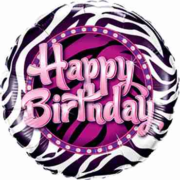 Birthday Zebra Print Foil Round 9in/22.5cm