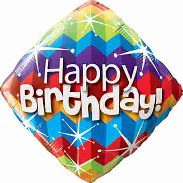 birthday zig zags and starbursts foil diamond 18in/45cm