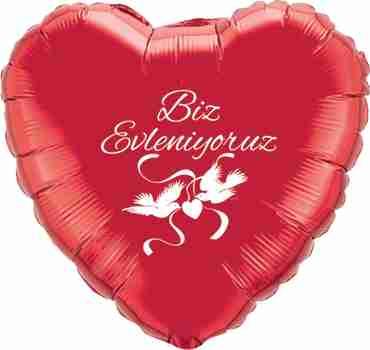 biz evleniyoruz ruby red w/white ink foil heart 18in/45cm