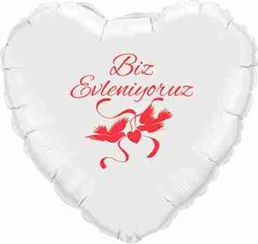 biz evleniyoruz white w/ruby red ink foil heart 18in/45cm