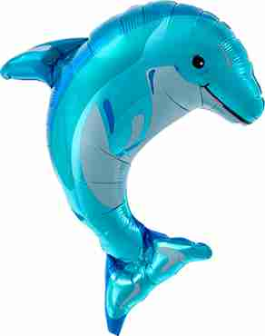 blue dolphin foil shape 14in/35cm