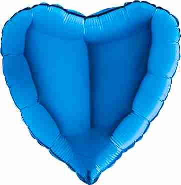 Blue Foil Heart 36in/90cm