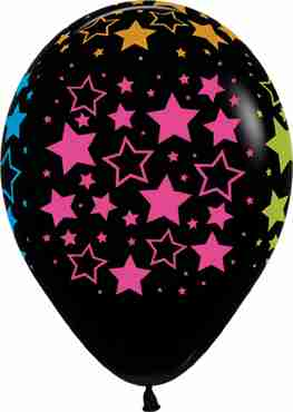 Bold Stars Neon Fashion Black Latex Round 11in/27.5cm