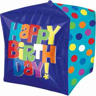 Bright Happy Birthday Cake Cubez 15in/38cm x 15in/38cm