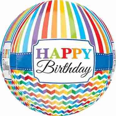 Bright Stripe and Chevron Happy Birthday Orbz 15in/38cm x 16in/40cm