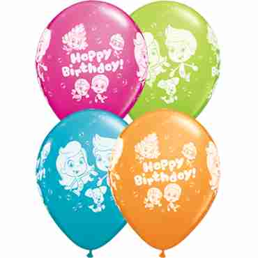 bubble guppies birthday standard orange, fashion wild berry, fashion tropical teal and fashion lime green assortment latex round 11in/27.5cm