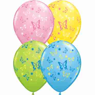 Butterflies Standard Yellow, Standard Pink, Standard Pale Blue and Fashion Lime Green Latex Round Assortment 11in/27.5cm