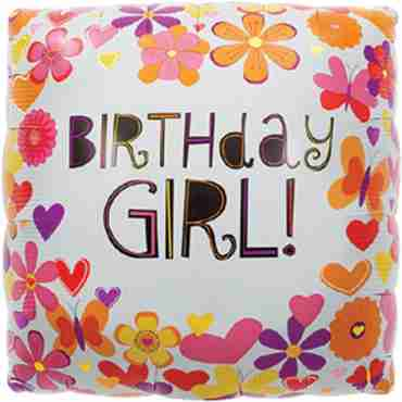 Butterfly Birthday Girl Foil Square 18in/45cm