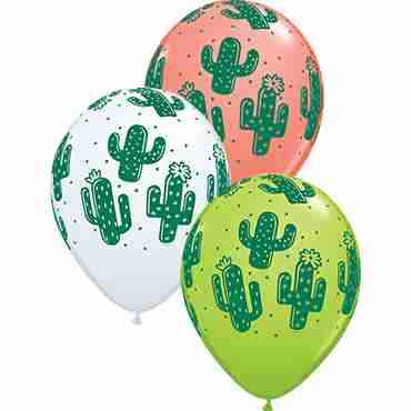 Cactuses Standard White, Fashion Coral and Fashion Lime Green Assortment Latex Round 11in/27.5cm
