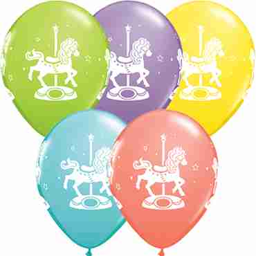 carousel horses sorbet assortment latex round 11in/27.5cm