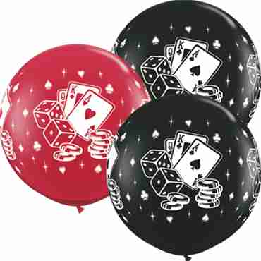 Casino Dice and Cards Fashion Onyx Black and Crystal Ruby Red (Transparent) Assortment Latex Round 36in/90cm