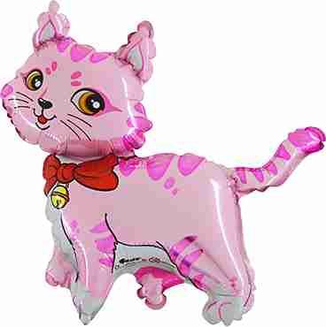 Cat Pink Foil Shape 36in/90cm