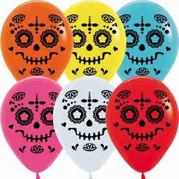 Catrina Fashion White, Fashion Fuchsia, Fashion Red, Fashion Yellow, Fashion Lime Green, Fashion Caribbean Blue and Fashion Orange Assortment Latex Round 11in/27.5cm
