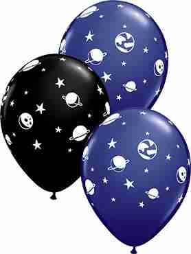 Celestial Fun Fashion Onyx Black and Fashion Navy Assortment Latex Round 11in/27.5cm
