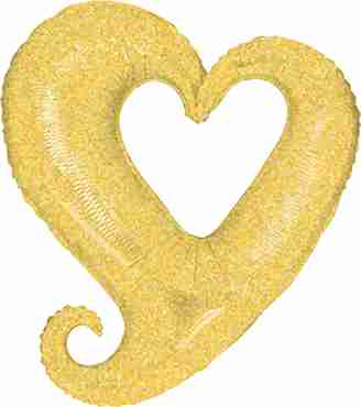 Chain of Hearts Holographic Ivory Foil Shape 37in/94cm