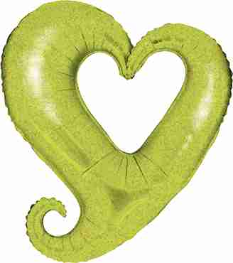 Chain of Hearts Holographic Lime Green Foil Shape 14in/36cm