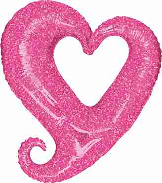 Chain of Hearts Holographic Pink Foil Shape 37in/94cm