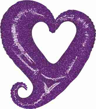 Chain of Hearts Holographic Purple Foil Shape 37in/94cm