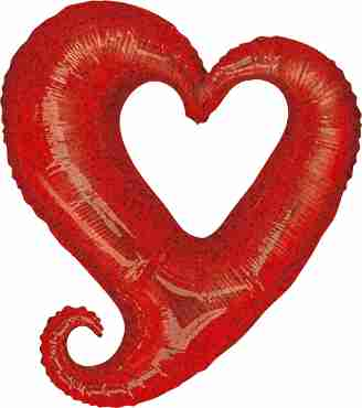 Chain of Hearts Holographic Red Foil Shape 14in/35cm