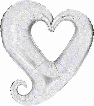 Chain of Hearts Holographic Silver Foil Shape 14in/35cm