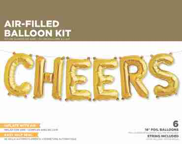 Cheers Kit Gold Foil Letters 16in/40cm