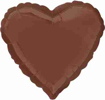 Chocolate Brown Foil Heart 18in/45cm