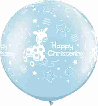 christening soft giraffe pearl light blue latex round 30in/75cm