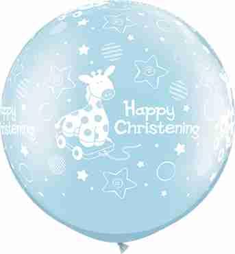 Christening Soft Giraffe Pearl Light Blue Latex Round 30in/75cm