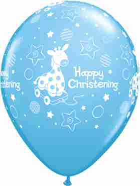 christening soft giraffe standard pale blue latex round 11in/27.5cm