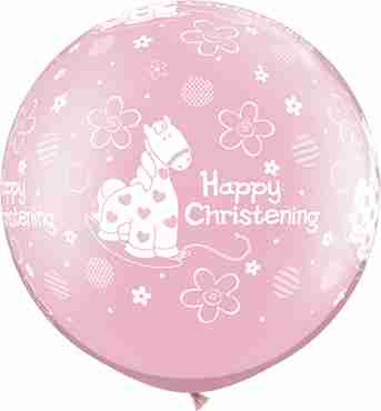 Christening Soft Pony Pearl Pink Latex Round 30in/75cm