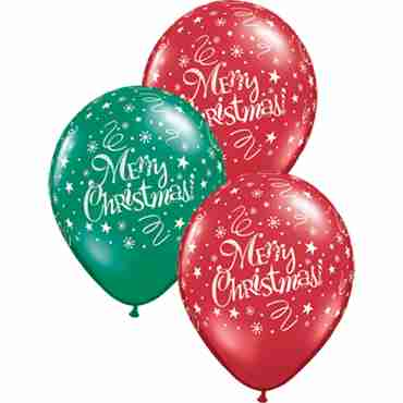 Christmas! Festive Crystal Ruby Red (Transparent) and Crystal Emerald Green (Transparent) Assortment Latex Round 11in/27.5cm