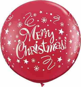 Christmas! Festive Crystal Ruby Red (Transparent) Latex Round 36in/90cm