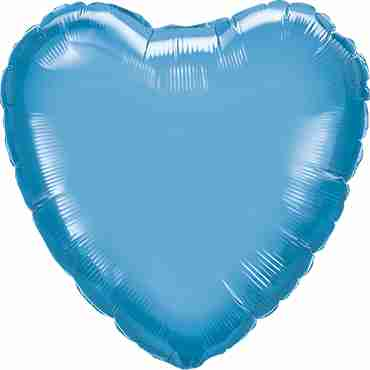 Chrome Blue Foil Heart 18in/45cm
