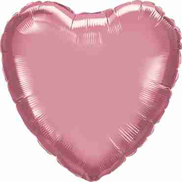 Chrome Mauve Foil Heart 18in/45cm