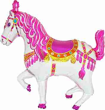 Circus Horse Pink Foil Shape 36in/90cm