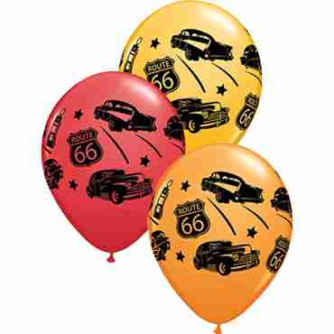 Classic Cars On Route 66 Standard Red, Standard Yellow and Fashion Goldenrod Latex Round 11in/27.5cm