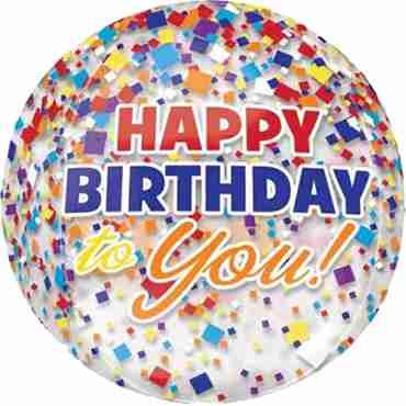 Clear Confetti Happy Birthday Orbz 15in/38cm x 16in/40cm